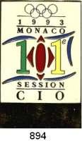 M E D A I L L E N,Olympiade 1 9 9 3 Mehrfarbiges Abzeichen Teilnehmerabzeichen 1993.  Auf die 101. Session des CIO (IOC) in Monaco.  54 x 35 mm.  Rs. Nadel.  Im Originaletui.