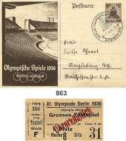 M E D A I L L E N,Olympiade Berlin 1936 Eintrittskarte zur Vorprobe