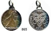 M E D A I L L E N,Olympiade Oslo 1952 Versilberte Medaille mit angeprägter Öse.  WINTER OLYMPIC GAMES 1952.  Skiwanderer und Bernhardiner. / Olympiaringe (kopfstehend !) auf Symbol und Umschrift.  28,5 mm.  12,31 g.