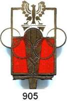 M E D A I L L E N,Olympiade A L L G E M E I N Anstecknadel des Polnischen Olympischen Komitees.  Weiß und rot emailliert.  40 x 30 mm.  Im Originaletui.