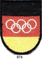 M E D A I L L E N,Olympiade 1 9 6 0 bis 1 9 6 8 Stoffabzeichen der Gesamtdeutschen Olympiamannschaft.  77 x 60 mm.