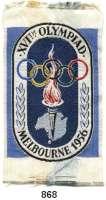 M E D A I L L E N,Olympiade Melbourne 1956 Mehrfarbiges Stoffabzeichen.  86 x 50 mm.