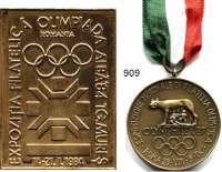 M E D A I L L E N,Olympiade A L L G E M E I N LOT von 4 Medaillen/Plaketten auf Olympia-Briefmarkenausstellungen (3x mit Abb. der Olimpischen Ringe).  1984 Rumänien 71 x 51 mm; 1987 Italien/Rom 40 mm am Band im Originaletui; 1990 Bulgarien/Varna 30 mm und 1998 Ungarn/Budapest 60 mm.