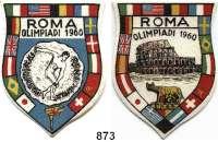 M E D A I L L E N,Olympiade Rom 1960 LOT von 4 verschiedenen Aufklebern (2x Filz und 2x Plastik).  Auf die Olympischen Spiele.  80 x 60 mm bis 120 mm Ø