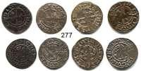 Deutsche Münzen und Medaillen,Rostock, Stadt Karl V. 1519 - 1558 LOT von 4 verschiedenen Schillingen, sundisch o.J.  1,04; 1,17; 1,20; 1,24 g.