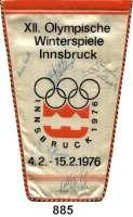 M E D A I L L E N,Olympiade Innsbruck 1976 Wimpel des DDR Fernsehen mit 8 Unterschriften von Olympiateilnehmern.  Darunter Jan Hoffmann (Eiskunstläufer), Christine Errath (Eiskunstläuferin), Manuela Groß und Uwe Kagelmann (Eiskunstlauf/Paarlauf).