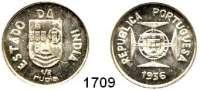 AUSLÄNDISCHE MÜNZEN,Indien Portugiesisch Indien 1/2 Rupia 1936.  Schön 10.  KM 23.