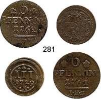 Deutsche Münzen und Medaillen,Rostock, Stadt LOTS     LOTS     LOTS 3 Pfennig 1729 R; 1744 R; 6 Pfennig 1761 IHB und 1762 IHB.  LOT 4 Stück.