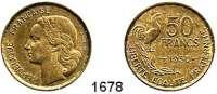 AUSLÄNDISCHE MÜNZEN,Frankreich 4. Republik 1947 - 1958 50 Francs 1950.  Schön 223.  KM 918.