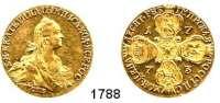 AUSLÄNDISCHE MÜNZEN,Russland Katharina II. 1762 - 1796 10 Rubel 1773, Sankt Petersburg.  13,07 g.  Bitkin 28 var.  Fb. 129 a.  GOLD.