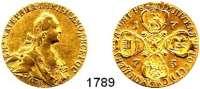 AUSLÄNDISCHE MÜNZEN,Russland Katharina II. 1762 - 1796 10 Rubel 1773, Sankt Petersburg.  12,9 g.  Bitkin 28 var.  Fb. 129 a.  GOLD.