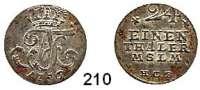 Deutsche Münzen und Medaillen,Mecklenburg - Strelitz Adolf Friedrich IV. 1752 - 1794 1/24 Taler 1756 HCB.  2,11 g.  Kunzel 597 B.  Schön 36.