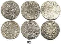 Deutsche Münzen und Medaillen,Brandenburg - Preußen Joachim I. 1499 - 1535 LOT von 6 Groschen. 1505, 1510(2), 1512 und 1516(2).  Meist Münzstätte Stendel.