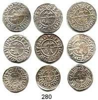 Deutsche Münzen und Medaillen,Rostock, Stadt LOTS     LOTS     LOTS LOT von 9 Silbermünzen.  Witten sundisch (3) und Schilling sundisch (6).  Alle mit unterschiedlichen Beizeichen.