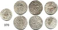 Deutsche Münzen und Medaillen,Stralsund, Stadt  LOT von 7 Silbermünzen.  Witten o.J. (2); Schilling 1504 und 1538(4).