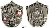 M E D A I L L E N,Schützen Köln Schildförmige Weißmetall Plakette 1990 (Wappen farbig).  Deutscher Schützentag Köln 1990.  47 x 39 mm.  21,93 g.