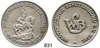 M E D A I L L E N,Schützen Herford Silbermedaille 1973 (800).  22. Deutscher Schützentag Herford 1973.  Westfälischer Schützenbund.  38,6 mm.  27,71 g.