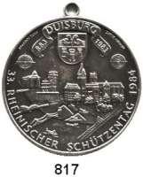 M E D A I L L E N,Schützen Duisburg Einseitige versilberte Bronzemedaille 1984 (Godec / Scheppat).  33. Rheinischer Schützentag.  40 mm.  20,46 g.  Mit Originalöse.