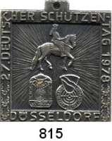 M E D A I L L E N,Schützen Düsseldorf Einseitige versilberte Bronzeplakette 1978.  27. Deutscher Schützentag.  36 x 33 mm.  15,6 g.  Mit Originalöse.