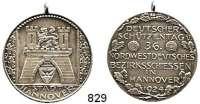 M E D A I L L E N,Schützen Hannover Silbermedaille 1924 (990/ Lauer, Nürnberg).  Deutscher Schützentag und 36. Nordwestdeutsches Bezirksschießen.  33,3 mm.  14,87 g.  Mit Öse.