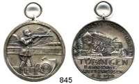 M E D A I L L E N,Schützen Tübingen Versilberte Medaille 1928.  Bahnschütz - Wettschießen.  Mit Öse.  34,3 mm.  17,28 g.
