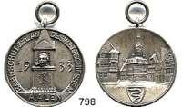 M E D A I L L E N,Schützen Aalen Versilberte Medaille 1933.  Bahnschütz - Landeswettschießen.  Mit Öse.  34,1 mm.  15,42 g.