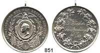 M E D A I L L E N,Schützen Varia Silbermedaille 1899 (G. Loos).  Auszeichnung für den Schützenkönig.  Mit Gravur :  F. Rüther 98/99.  Kopf Kaiser Wilhelm II. im Medaillon.  Mit Öse.  36,7 mm.  21,95 g.