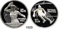AUSLÄNDISCHE MÜNZEN,China Volksrepublik seit 1949 10 Yuan 1991.  Olympische Spiele - Skifahrer und Tischtennisspielerin.  Schön 324 und 326.  KM 296 und 299.  LOT 2 Stück.  Jeweils in Kapsel.