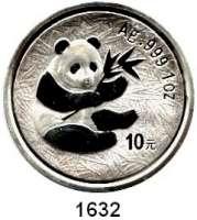 AUSLÄNDISCHE MÜNZEN,China Volksrepublik seit 1949 10 Yuan 2000 (Silberunze).  Panda mit Bambuszweig.  In Kapsel.  Schön 1226.  KM 1310.