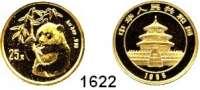 AUSLÄNDISCHE MÜNZEN,China Volksrepublik seit 1949 25 Yuan 1995.  (1/4 UNZE  7,78 g fein).  Hüftbild eines Pandas mit Bambuszweig.  Verschweißt.  Schön 783.  KM 717.  Fb. B 6.  GOLD