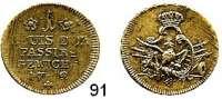 Deutsche Münzen und Medaillen,Preußen, Königreich Friedrich II. der Große 1740 - 1786 Passiergewicht zu 1 Louis d`or 1772.  Messing.  6,57 g.  Olding 497.