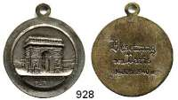 M E D A I L L E N,Weltkrieg  Versilberte Medaille mit Öse o.J. (G. Robin).  ARC DE TRIOMPHE PARIS.  Rückseitige Gravur