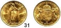 Österreich - Ungarn,Habsburg - Lothringen Franz Josef I. 1848 - 1916 20 Kronen 1895 KB, Kremnitz. (6,09g fein).  Frühwald 2059.  Jl. 409.  KM 486.  Fb. 250.  GOLD.