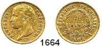 AUSLÄNDISCHE MÜNZEN,Frankreich Napoleon I. 1804 - 1815 20 Francs 1807 A, Paris.  (5,8g fein).  Kahnt/Schön 28.  KM A 687.1.  Fb. 487 a..  GOLD