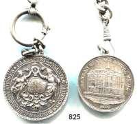 M E D A I L L E N,Schützen Frankfurt am Main Silberkette (800, 29 cm). mit zwei Silbermedaillen.  1.  1887 9. Deutsche Bundesschiessen (40 mm) und 2. 1865 Denman Grammar School Medal mit Gravur