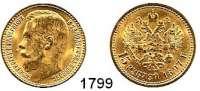 AUSLÄNDISCHE MÜNZEN,Russland Nikolaus II. 1894 - 1917 15 Rubel 1897, Sankt Petersburg.  (11,61g fein).  Drei Buchstaben unter dem Halsabschnitt.  Bitkin 2.  Kahnt/Schön 17.  Y 65.  Fb. 177.  GOLD.