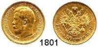 AUSLÄNDISCHE MÜNZEN,Russland Nikolaus II. 1894 - 1917 7 1/2 Rubel 1897, St. Petersburg.  (5,8g fein).  Bitkin 17.  Kahnt/Schön 15.  Y 63.  Fb. 178.  GOLD
