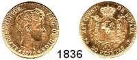 AUSLÄNDISCHE MÜNZEN,Spanien Alfons XIII 1886 - 1931 20 Peseten 1896(19-61) MP-M, Madrid.  (5,8 g fein).  Schön 183.  KM 709.  Fb. 348 R.  Offizielle Nachprägung 1961.   GOLD