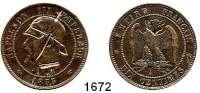 AUSLÄNDISCHE MÜNZEN,Frankreich Napoleon III. 1852 - 1870 10 Centimes 1855 A, Paris, mit Gravuren (1870-1871): Kopf links mit Pickelhaube, Uniformkragen und auf der Rückseite Eulenkopf.
