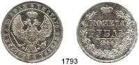 AUSLÄNDISCHE MÜNZEN,Russland Nikolaus I. 1825 - 1855 Rubel 1844 MW, Warschau.  Bitkin 423.  Kahnt/Schön 73.  Cr. 168.2.