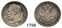 AUSLÄNDISCHE MÜNZEN,Russland Nikolaus II. 1894 - 1917 50 Kopeken 1896 *.  Bitkin 196.  Kahnt/Schön 146.  Y. 58.1.