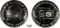 Deutsche Demokratische Republik,M E D A I L L E N  Feinsilbermedaille 1970.  100. Geburtstag von Wladimir Iljitsch Lenin.  40 mm.  21,84 g.