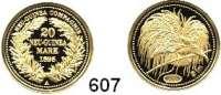 Besetzte Gebiete  -  Kolonien  -  Danzig,Deutsch - Neuguinea  Neuprägung (Punze 2005) des 20 Markstückes von 1895 A.  Vgl. Jaeger 709.  20 mm.  3,07 Gramm.  GOLD