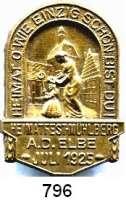 M E D A I L L E N,Städte Mühlberg a. d. Elbe Einseitiges Messingabzeichen 1925.  Heimatfest Juli 1925.  41,5 x 29.5 mm.  4,66 g.