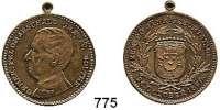 M E D A I L L E N,Personen Moltke, Helmuth Graf von (+1891) Bronzemedaille mit angeprägter Öse 1890.  Zum 90. Geburtstag.  Kopf n. l. / Wappen.  27,9 mm.  7,88 g.