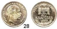 Österreich - Ungarn,Habsburg - Lothringen Franz Josef I. 1848 - 1916 20 Kreuzer 1868 KB, Kremnitz.  Off. Neuprägung.  zu Frühwald 1804.