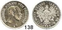 Deutsche Münzen und Medaillen,Preußen, Königreich Wilhelm I. 1861 - 1888 1/6 Taler 1865 A.  AKS 101.  Jg. 95.