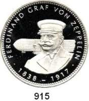 M E D A I L L E N,Luftfahrt - Raumfahrt Luftschiffahrt Feinsilbermedaille 1993.  Ferdinand Graf von Zeppelin.  Brustbild vor Luftschiff.  40 mm.  19,74 g.