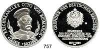 M E D A I L L E N,Personen Bismarck, Fürst Otto von Feinsilbermedaille o.J.  Brustbild mit Mütze n. r. / Bekrön. Reichsadler und 5 Textzeilen.  40 mm.  25,13 g.