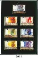 P A P I E R G E L D,BUNDESREPUBLIK DEUTSCHLAND  Etui mit 7 Silberbarren (1 Unze Feinsilber 999,9).  Die neue Währung für Europa.  Die Silberbarren der sieben Euro-Banknoten.  Je Barren Farbreproduktion der Banknoten.  35 x 52 mm.
